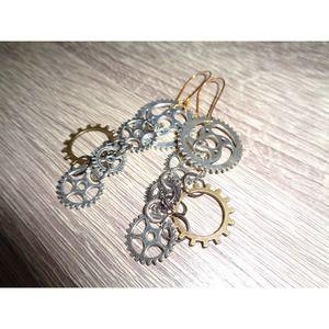 Steampunk earrings gear sprocket earring